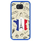 Hapdey Coque pour [ Bq Aquaris U2 - U2 Lite ] Dessin [ Tour Eiffel, Carte et Drapeau de la France ]...