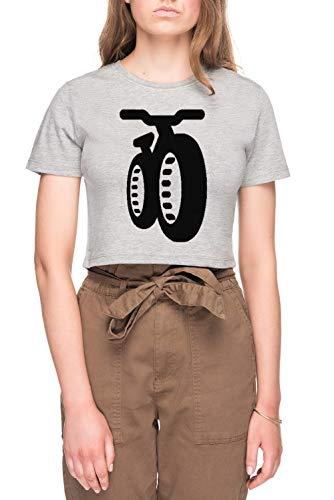 Fatbike Dames Bijsnijden T-shirt Tee Grijs Women's Crop T-shirt Tee Grey