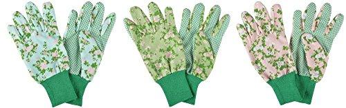 Esschert Design Gartenhandschuhe mit Rosendruck, 12 x 10 x 26 cm, farbig Sortiert, mit Bund, mit Noppen, Grundfarbe grün