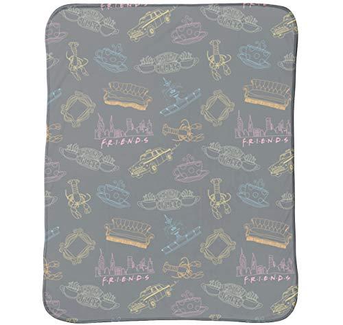 Warner Brothers Friends TV Show Fleece Throw Over Sofa Bed Blanket Plush...