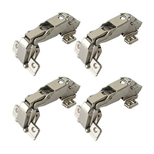 LIKERAINY 165-175 Grado Arremetida Bisagra 35mm con Amortiguador Clip on Tecnología Totalmente Solapado Bisagras para Puertas de Mueble Armarios de Cocina 4Pcs