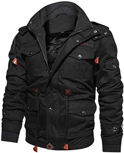 TACVASEN Militär Jacken Herren Winter Lange Jacke Cargo Baumwolljacke Taktische Jacke Fleece Cotton Jacket Men Long Hoodie Jacke Casual...