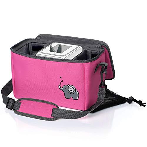 Musikbox-Tasche für Hörwürfel (z.B. Toniebox und Tigerbox Touch) in flamingopink | Verstellbare Innenfächer | Netzbeutel für Zubehör (z.B. 10 Hörfiguren oder SD-Karten)