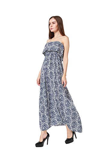 ARACK Damen Sommerkleid aus Porzellan, Blumenmuster, trägerlos, Größe L, Blau / Weiß