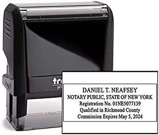 New York Rectangle Notary Stamp -NY Official Notary Stamp - Enter Custom Text