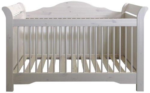 Steens Lotta Babybett, 3-fach höhenverstellbar, Bettseiten für Einzelbett umbaubar, Liegefläche 70 x 140 cm, Kiefer massiv, Weiß