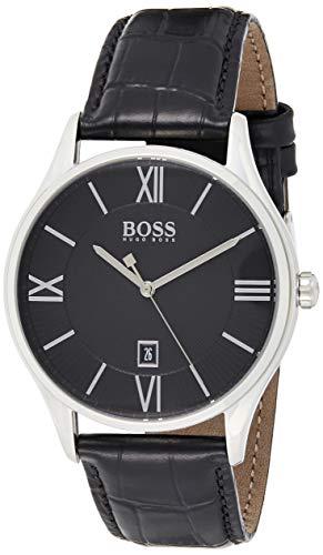 Hugo Boss Herren Datum Quarz Armbanduhr mit Lederarmband