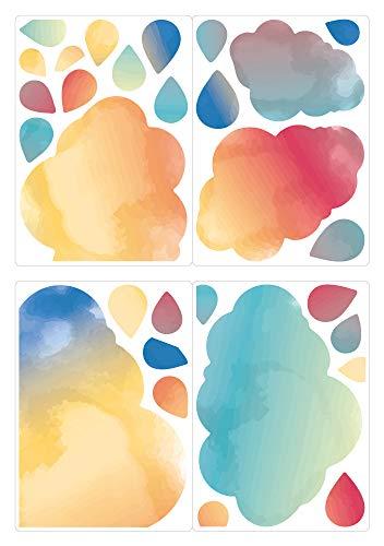 dekodino® Fenstersticker Kinderzimmer Aquarell Wolken und Tropfen Set