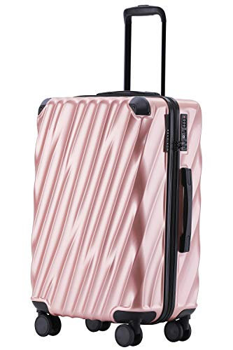 MÜNICASE TSA Schloß Handgepäck Trolley Koffer-Set Reisekoffer (Rosagold, XL-76cm)