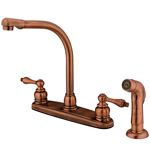 Kingston Brass KB716ALSP Victorian High Arch Kitchen Faucet with Sprayer, 7-Inch, Vintage Copper by Kingston Brass