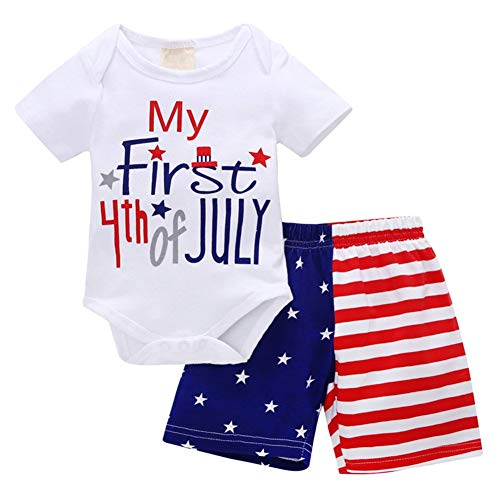 Xfglck Newborn Infant Baby Boy 4th of July Shorts Set Short Sleeve Bodysuit + Stars Stripe Short American Flag Summer Outfits (My First 4th of July, 3-6 Months)