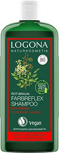 LOGONA Naturkosmetik Farbreflex Shampoo Rot-Braun Bio-Henna, Farbschutz für natürlich rot-braunes/gefärbtes Haar, Belebt die Farbintensivität, Für coloriertes Haar, Mit Bio-Extrakten, Vegan, 250ml