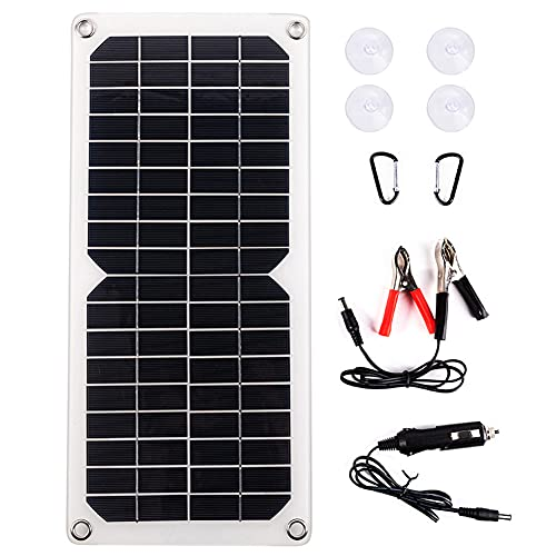 EastMetal Panel Solar 10W, para Teléfono Móvil, Automóvil, Batería, Exterior, Celda Solar de Silicio Monocristalino 18V, Cargador Solar Impermeable para Acampar DIY con Protección contra Sobrecargas