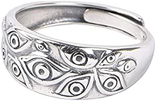 IPEPPY 925 Sterling Silver Ring ,Evil Eye Ring Open Cool Statement Ring Eye of God Ring For Men Women Jewelry Gifts