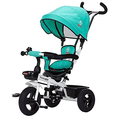 TANKKWEQ Cochecito Plegable Cuatro niños Triciclo, Triciclo para bebés con toldos, Pedal de Abdominales Plegables, cestas de Almacenamiento, Valla de esponjas, amortiguadores de Ruedas,