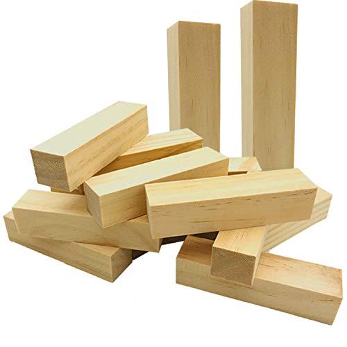 Fycooler Basswood Whittlers Schnitzblöcke, Holzschnitz- / Schnitzkit, unfertiger Holzblockwürfel für Holzschnitzerei, DIY Schnitzerei Holz Hobby Whittler Kunst Skulptur Handwerk 14Stk 10x2,5x2,5 cm