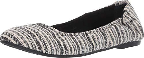 Minnetonka Womens Anna Ballet Flat, Black/White Stripe Fabric, Size 5.5