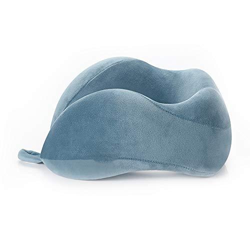 Shiwen Azul Viaje en forma de U almohada cuello protector en forma de U almohada de memoria de algodón avión almohada de viaje almohada de siesta almohada, pavo real azul