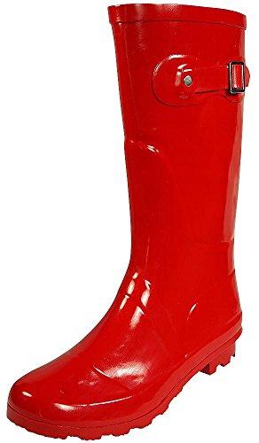NORTY - Womens Hurricane Wellie Solid Gloss Mid-Calf Rain Boot, Red 38736-8B(M) US