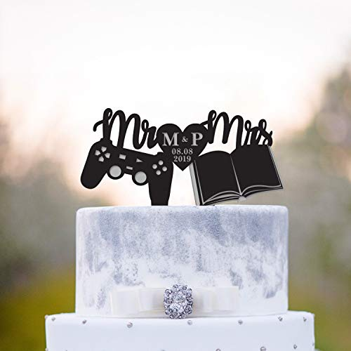 Game controller book worm wedding topper,book nerd cake topper,Gamer wedding book lover topper,video game bookish wedding cake topper,a301