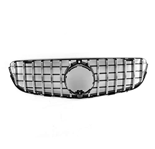 ZMAUTOPARTS GT-R Style Front Upper Hood Grille Black/Chrome Compatible with 2015-2019 Mercedes-Benz GLC X253