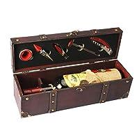 yobansa antico contenitore scatola per vino,portabottiglie per vino,set di accessori per vino,scatola regalo di vino in legno,tappo per vino,versatore vino,cavatappi per vino (5set)