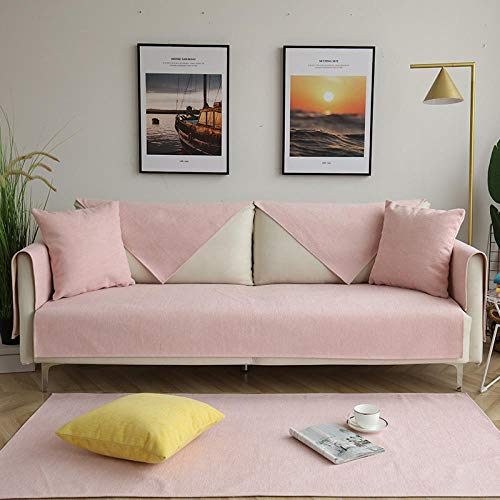 B/H Tejido Poliéster Poliéster Sofa Cubre,Cojín de sofá de Chenilla, Funda de sofá Antideslizante Simple-Pink_90 * 180cm,poliéster y Elastano Funda sofá