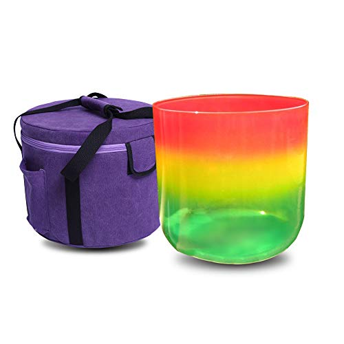 Rainbow Colored C# Adrenals Chakra - Cuenco de cristal de cuarzo transparente (17 cm), incluye una bolsa de maleta, un mazo y una junta tórica