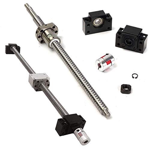 QOHFLD Accessori per Stampante Parti della Stampante 3D, Vite a ricircolo di Sfere da 360 mm 1 Set Dado Anti-Gioco RM1605 + accoppiatore BF12 / BK12 + 6,35 10 mm