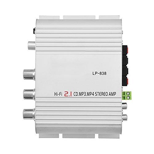Audio Verstärker Car Mini Stereo Verstärker HiFi 2.1 Stereo Bass - lp-838 RMS 15W 3.5 mm Audio Schnittstelle Unterstützt alle Arten von Audio-Eingängen,für Auto und Heim (Weiß)