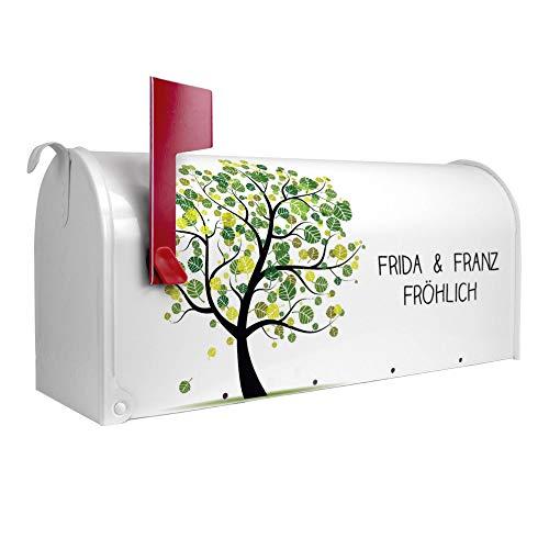BANJADO US Mailbox   Amerikanischer Briefkasten 51x22x17cm   Letterbox Stahl weiß   mit Motiv WT
