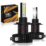 Pulilang Ampoule H7 Led Phares pour Voiture, 12000LM 60W 6500K- Rechange pour Lampes Halogènes et Kit Xenon, 2 Ampoules