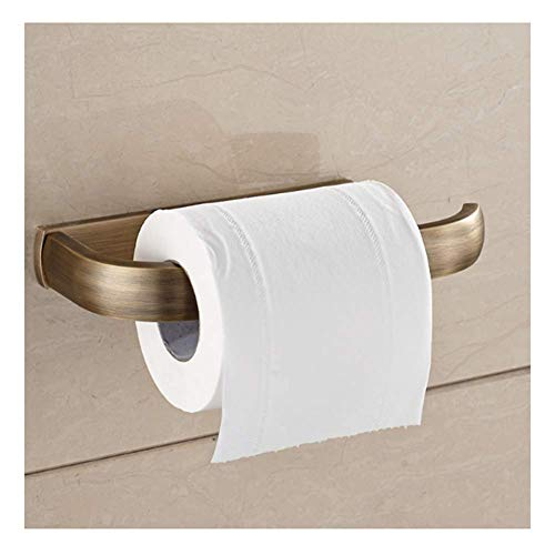 ZHIFENGLIU Antique Luxury Square Toilet Paper Holder Brushed Solid Brass Tissue Holder Toilet Paper Holder Wall Mount Roll Holder