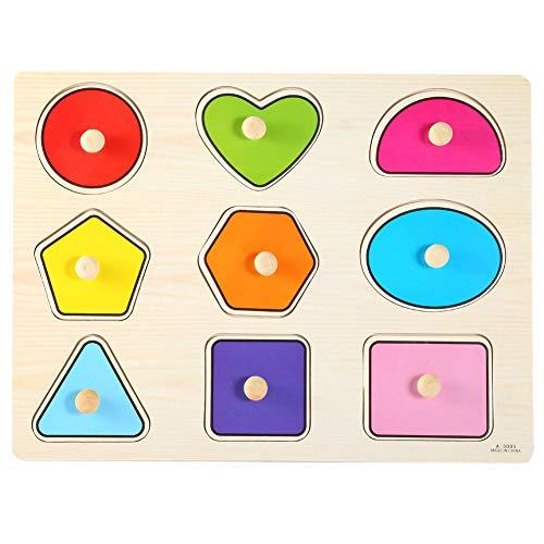 Perilla Rompecabezas de madera Juguete geométrico Puzzles de agarre de mano Forma Reconocimiento de color Bloque de tablero Niños pequeños Aprendizaje Montessori Juguetes Regalo