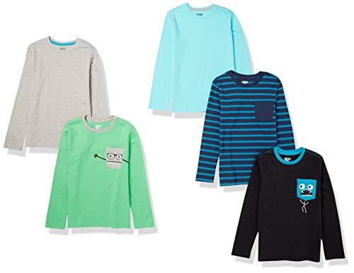 Marca Amazon - Spotted Zebra - Pack de 5 camisetas de manga larga para niño, Chompers, US 2T (EU 92-98)