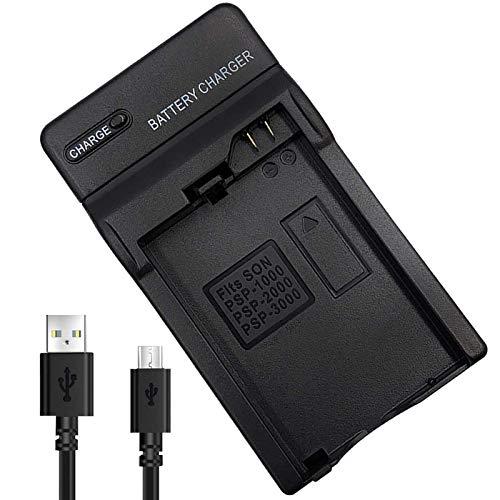 PSP Akku Ladegerät,PSP-S110 Batterieladegerät PSP-110 Batterie ladegerät mit Ladekabel Kompatibel für Sony PSP-S110 /PSP 1000 Serie/PSP 2000 Serie/PSP 3000 Serie mit Micro USB Input ladegerät