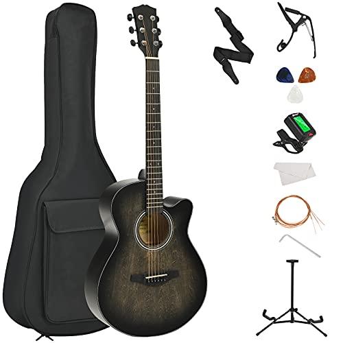 "Costzon 40"" Full Size Cutaway Acoustic Guitar Set, Beginner Folk Guitarra Bundle Kit, Tuner, Case, Strap, Picks, Extra Strings, Bracket, Capo, High Precision Sealed Tuning Pegs, Vibrant Tone (Black)"