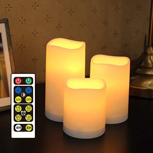 WRalwaysLX Flammenlose Kunststoff-Stumpenkerzen für Außen- und Innenbereich, farbwechselnde LED-Kerzen mit Fernbedienung und Timer, 3 Kerzen, verwendet durch 3 AAA-Batterien