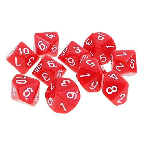 Yourandoll D10 dadi poledri D10, dadi da gioco per DND RPG, gioco di carte (rosso)