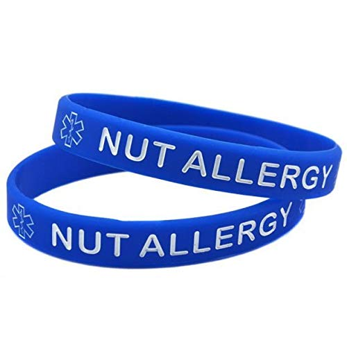 Xi-Link Pulsera Advertencias Nut Alergia Pulseras Grabado con El Colorante Mano Anillo De Muñeca De Silicona Suave (Color : Blue)