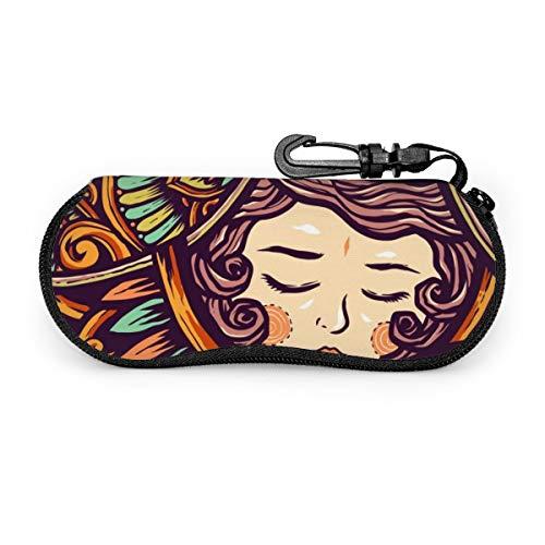 Sunglasses Soft Case Ultra Light Neoprene Zipper Eyeglass Case With Key Chain Sleeping Beauty Girl Etnic Flower
