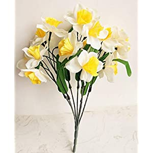 Artificial and Dried Flower one Piece Artificial Narcissus Flowers Simulation Silk Daffodils 21 Heads for Home Decoration Wedding Party Centerpieces Flower