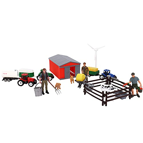 25 Piece Farm Toys Set  Farm Animals Toys Playset with Barn Cows Dogs Fens Tractors and Accessories Educational Toys Gift for Toddlers Kids Pretend Play