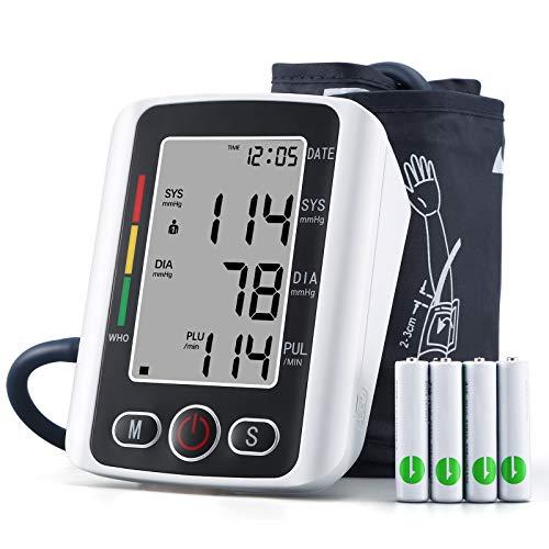 U-Kiss Blutdruckmessgerät Oberarm, Risikoindikator, Digital Vollautomatisch Blutdruckmessgerät und Pulsmessung, Großes LED Display und Große Manschette, USB, 2x99 Dual-User-Modus