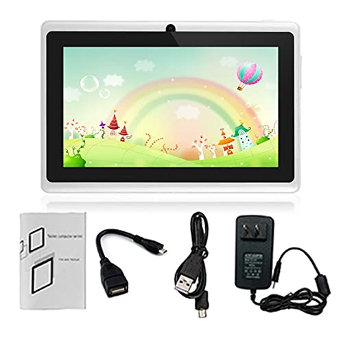 Tablet PC Pantalla táctil HD de 7 pulgadas Enchufe de la UE Tablet PC para niños Quad-Core 512MB + 8GB Tableta de aprendizaje para estudiantes Soporte de regalo de cumpleaños Tarjeta TF - Blanco