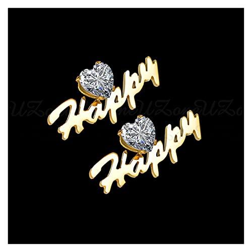 WWWL Aretes, Pendientes Personalizados Pendientes Cristales DE Acero Inoxidable Placa CUMPLICIDAD para Las Mujeres Femme Venta al por Mayor (Color : Gold)