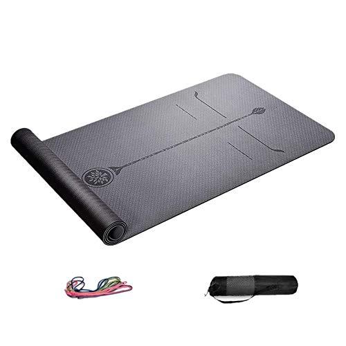 ZBK 80 cm breite TPE Yogamatte, doppellagige zweifarbige rutschfeste Fitnessmatte, Sportmatte für Männer und Frauen, 183 × 80 × 0,6 cm, grau