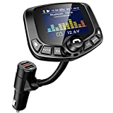 LoHi Bluetooth FM Transmitter for Car, Wireless Radio Adapter Hands-Free Kit 1.8''Color Display with Auto Search FM Blank Channel & QC3.0 Fast Charging Function, Support USB, TF Card, AUX Input/Output