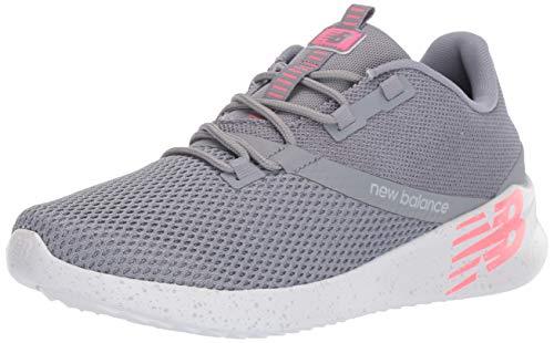 New Balance Women's Cush+ District Run V1 Shoe, Steel/Coral, 6.5 M US
