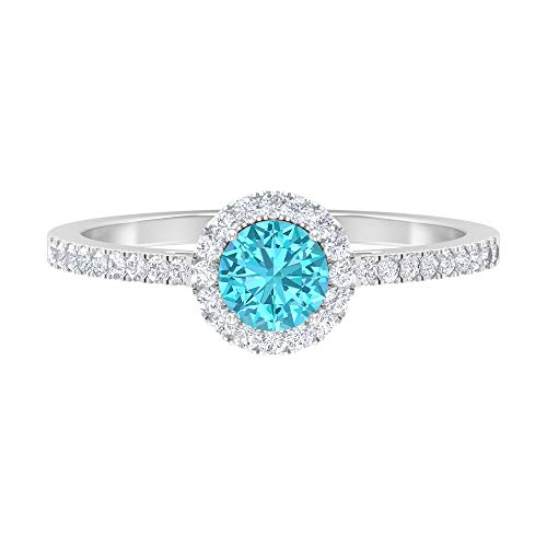 Anillo de halo solitario, anillo de 5 mm de rodolita, anillo de compromiso de diamantes HI-SI, anillo de piedra lateral, 14K White Gold, Rhodolite, Size:US 52